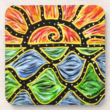 Beach Themed Modern Abstract  Sunset Coaster