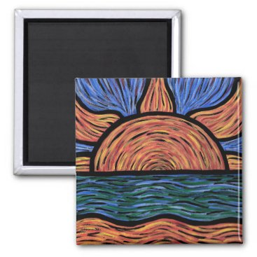 Beach Themed Modern Abstract Sunset Colors In Motion Magnet