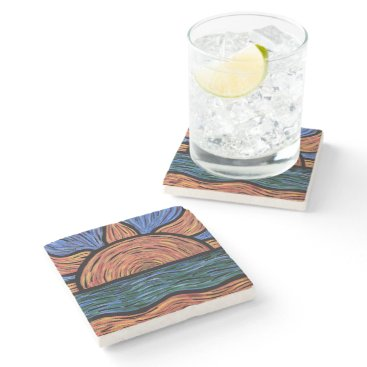 Beach Themed Modern Abstract Sunset Colors In Motion Stone Coaster