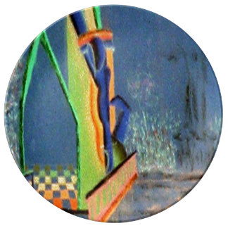 Modern Abstract Surrealism City Urban Art Plate