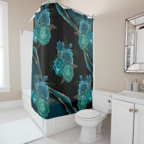 Modern Abstract Teal and Gold Floral Design | Shower Curtain