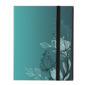 Modern Abstract Teal Floral iPad Case