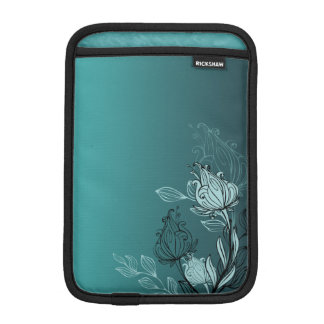 Modern Abstract Teal Floral iPad Mini Sleeve