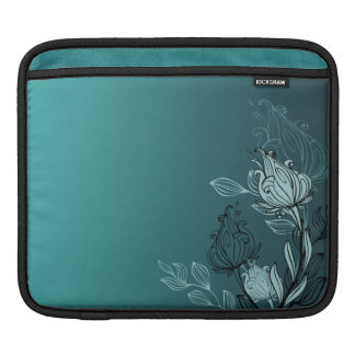 Modern Abstract Teal Floral Sleeve For iPads