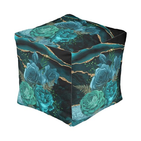 Modern Abstract Teal Roses and Gold Glitter Design Pouf