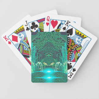 Modern Abstract teal Water Fountain Fantasy Bicycle Playing Cards