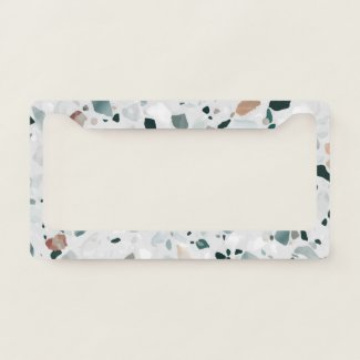 Modern Abstract Terrazzo Pattern License Plate Frame