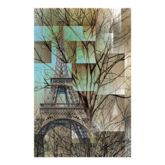 modern abstract tree landscape paris eiffel tower customized stationery