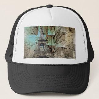 modern abstract tree landscape paris eiffel tower trucker hat