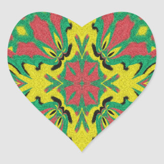 Modern abstract unique pattern heart sticker