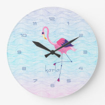 Modern Abstract Water Waves & Pink Flamingo Large Clock