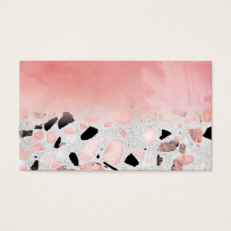 Modern abstract watercolor and marble design business card