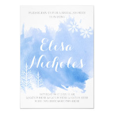 Modern abstract watercolor blue bridal shower 5x7 paper invitation card