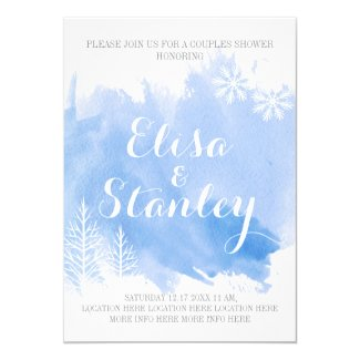 Modern abstract watercolor blue couples shower custom invitations