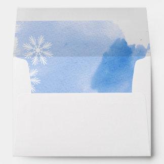 Modern abstract watercolor blue winter wedding envelopes
