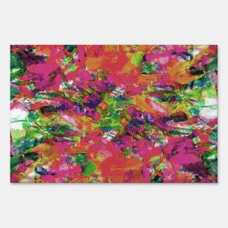 Modern abstract watercolor brushstrokes pattern lawn sign