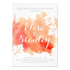 Modern abstract watercolor coral couples shower 5x7 paper invitation card