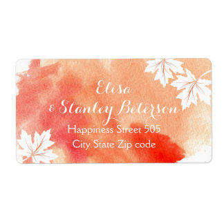 Modern abstract watercolor coral peach wedding shipping label