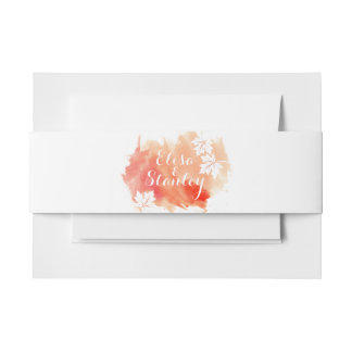 Modern abstract watercolor coral peach wedding invitation belly band
