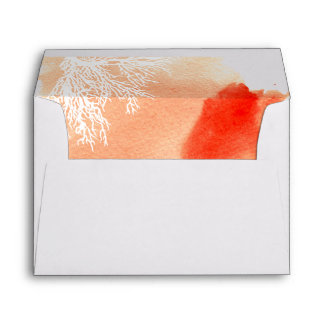 Modern abstract watercolor coral reef wedding envelope