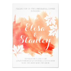 Modern abstract watercolor coral rehearsal dinner 5x7 paper invitation card