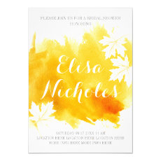 Modern abstract watercolor yellow bridal shower 5x7 paper invitation card