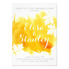 Modern abstract watercolor yellow rehearsal dinner 5x7 paper invitation card