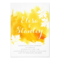 Modern abstract watercolor yellow wedding 5x7 paper invitation card