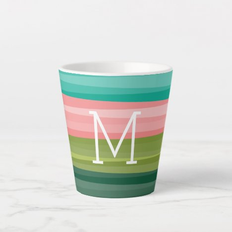 Modern Abstract with Classic White Text Monogram Latte Mug