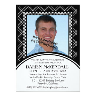 Modern Adult Birthday Party Black and White 5.5x7.5 Paper Invitation Card