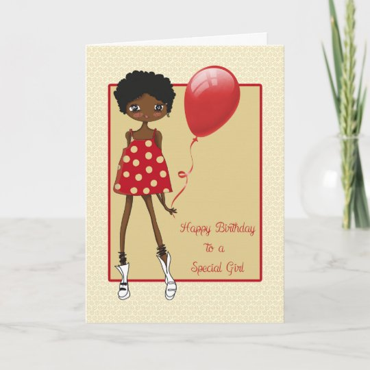 Modern African American Girl Birthday Card Zazzle