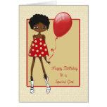Modern African American Girl, Birthday Greeting Card