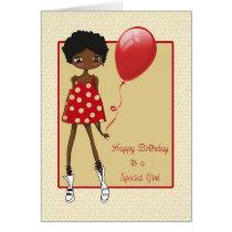 Modern African American Girl, Birthday Card