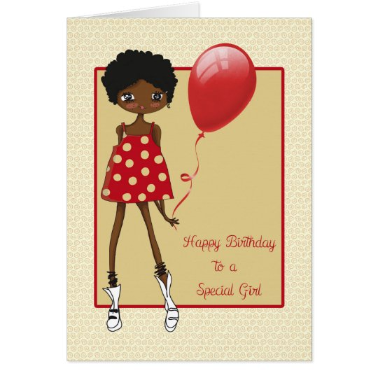 Modern African American Girl Birthday Card Zazzle Com