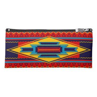 Modern African Art Gods Eye Pattern Red Yellow Pencil Case