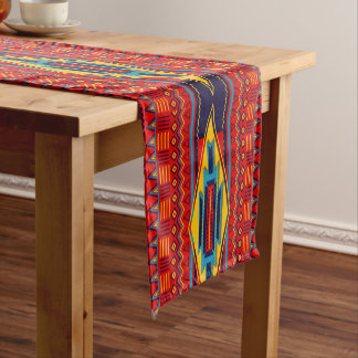 Modern African Art Gods Eye Pattern Red Yellow Short Table Runner