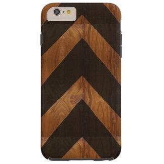 Modern African black arrows brown wood grain look Tough iPhone 6 Plus Case