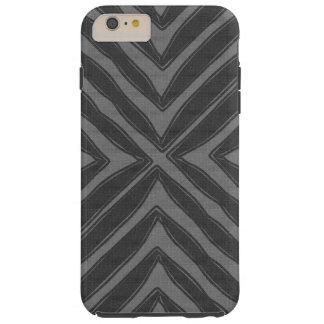 Modern African Print Gray Linen Look Tough iPhone 6 Plus Case