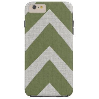 Modern African Print green arrows linen look Tough iPhone 6 Plus Case