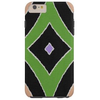 Modern African Print green purple black linen look Tough iPhone 6 Plus Case
