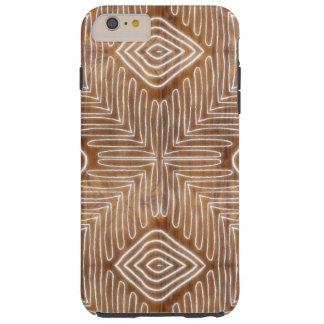 Modern African Tribal Brown Wood Grain Look Tough iPhone 6 Plus Case