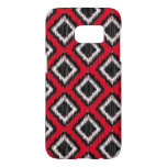 Modern African Tribal Ikat Red and Black Samsung Galaxy S7 Case