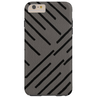 Modern African Tribal Lines Gray Leather Look Tough iPhone 6 Plus Case