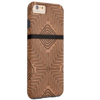 Modern African Tribal Print Brown Leather Looking Tough iPhone 6 Plus Case