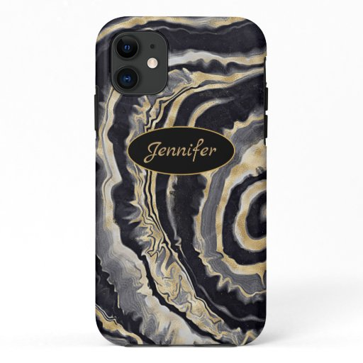 Modern Agate Black & Gold Crystal Personalize iPhone 11 Case