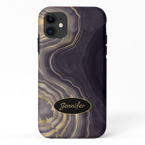 Modern Agate Purple & Gold Crystal Personalize iPhone 11 Case