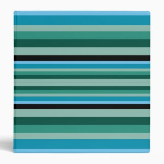 Modern Agua Green Striped 3 Ring Binder