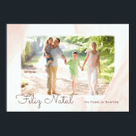 """Modern Aguarela photo Happy Christmas Card<br><div class=""""desc"""">An effect of the aguarela makes a beautiful greeting the family and friends this natal time. The project of colors rose and white adds contemporary charm.</div>"""