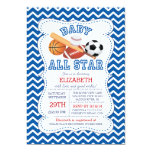 Modern All Star Sports Boys Baby Shower 5x7 Paper Invitation Card