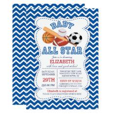 Modern All Star Sports Boys Baby Shower Card at Zazzle